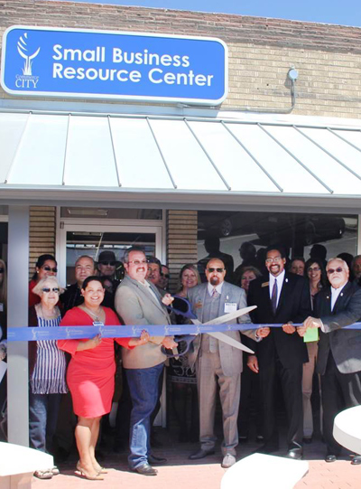 Ribbon cutting at small business resource center